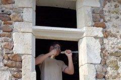 Fenêtre à traverse de manoir XVe siècle